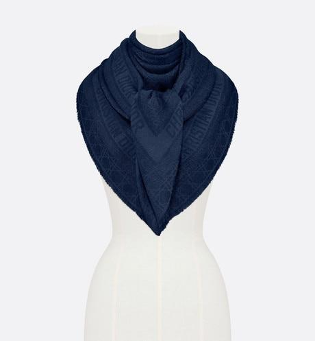 Dior Little Cannage Shawl • Blue Wool, Silk, Cashmere and Metallic Thread Jacquard