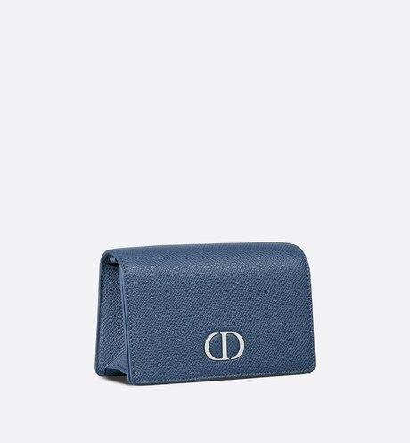 30 Montaigne Nano Pouch • Denim Blue Grained Calfskin