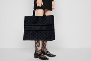 Dior Book Tote • Blue Cannage Embroidered Velvet