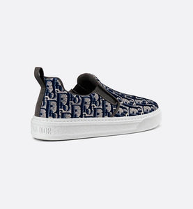 Dior Solar Slip-On Sneaker • Dark Blue Dior Oblique Embroidered Velvet