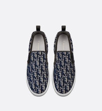 Load image into Gallery viewer, Dior Solar Slip-On Sneaker • Dark Blue Dior Oblique Embroidered Velvet