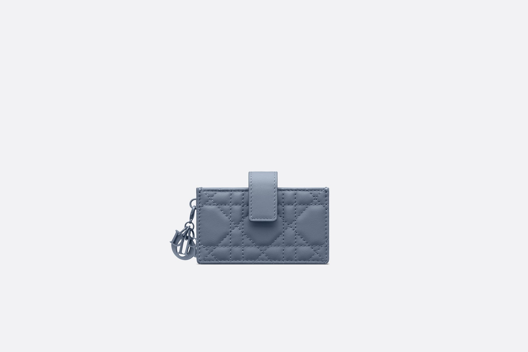 Lady Dior 5-Gusset Card Holder • Denim Blue Ultramatte Cannage Calfskin