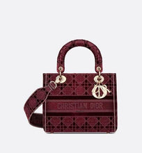 Load image into Gallery viewer, Medium Lady D-Lite Bag • Burgundy Cannage Embroidered Velvet