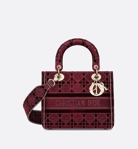 Medium Lady D-Lite Bag • Burgundy Cannage Embroidered Velvet