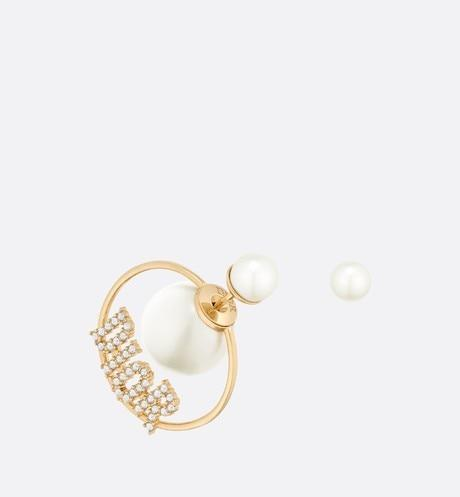 Dior Tribales Earrings • Gold-Finish Metal, White Resin Pearls and White Crystals