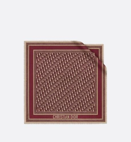 Dior Oblique Square Scarf • Burgundy Silk Twill
