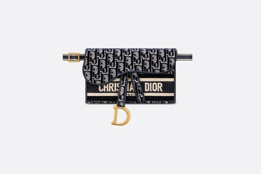 Slim Saddle Pouch • Blue Dior Oblique Embroidered Velvet