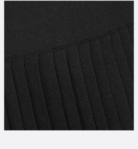 Pleated Midi Skirt • Black Silk
