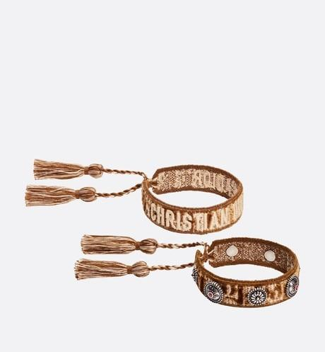 J'Adior Bracelet Set • Brown and Beige Dior Oblique Cotton and Velvet with Antique Palladium-Finish Metal Detailing