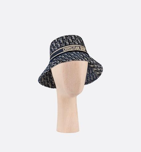 Dior Oblique Large Brim Bucket Hat • Blue Velvet