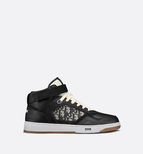 B27 High-Top Sneaker • Black Smooth Calfskin with Beige and Black Dior Oblique Jacquard