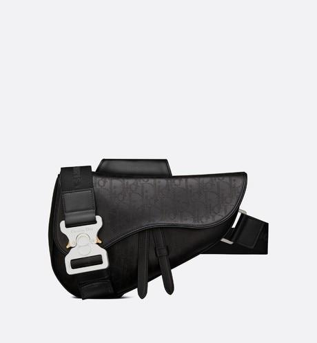 Saddle Bag • Black Dior Oblique Galaxy Leather