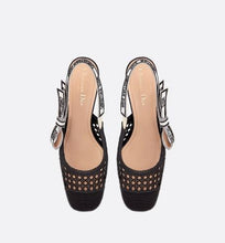 Load image into Gallery viewer, Dior & Moi Slingback Pump • Black Cannage Embroidered Mesh