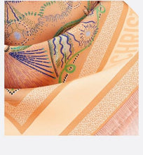 Load image into Gallery viewer, Dior in Lights Diortwin Square Scarf • Orange and Light Pink Silk Twill