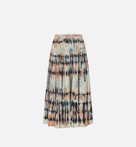 Mid-Length Pleated Skirt • Rose Céleste Cotton Denim with Tie & Dior Motif