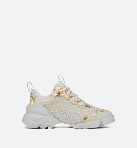 D-Connect Sneaker • Gold-Tone Metallic Mesh and Calfskin
