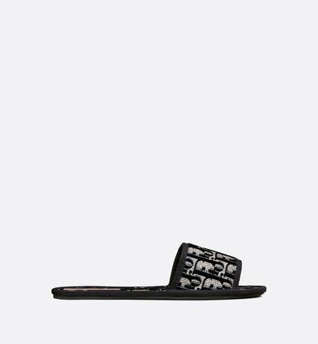 Dior Chez Moi Slide • Blue Dior Oblique Embroidered Velvet