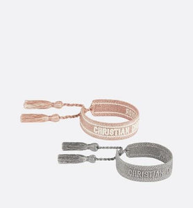 J'Adior Bracelet Set • Pink and Metallic Gray Cotton