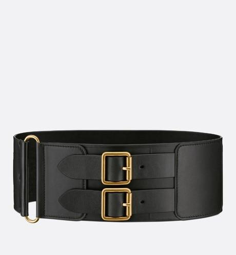 D-Waist Belt • Black Smooth Calfskin, 10 CM