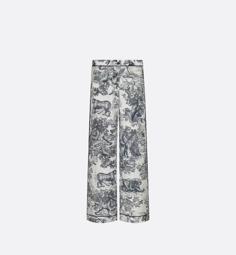 Dior Chez Moi Pajama Pants • White Silk Twill with Navy Blue Toile de Jouy Motif