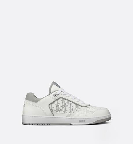 B27 Low-Top Sneaker • White and Gray Smooth Calfskin with White Dior Oblique Galaxy Leather