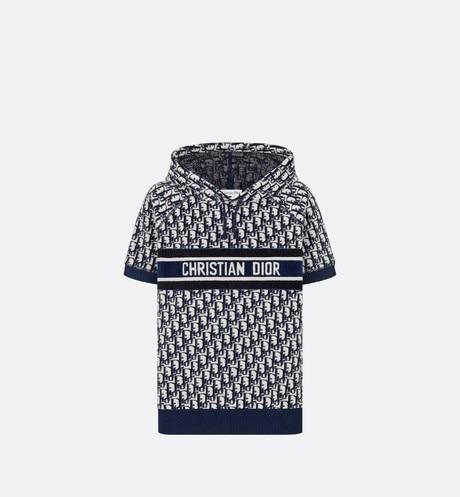 Short-Sleeved Hooded Sweatshirt • Navy Blue and White Dior Oblique Cotton Jersey