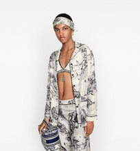 Load image into Gallery viewer, Dior Chez Moi Pajama Jacket • Silk with Black and White Toile de Jouy Zodiac Motif