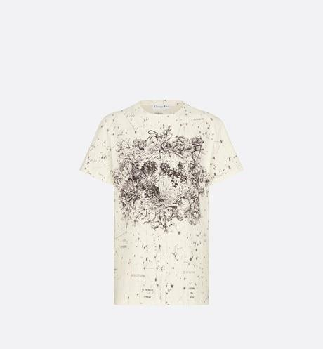 T-Shirt • Ecru Cotton Jersey and Linen with Black Dior Zodiac Motif