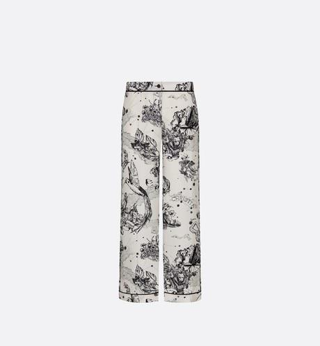 Dior Chez Moi Pajama Pants • White Silk Twill with Black Toile de Jouy Zodiac Motif
