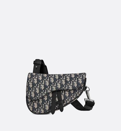 Mini Saddle Bag • Beige and Black Dior Oblique Jacquard