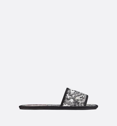 Dior Chez Moi Slide • Black and White Dior Zodiac Embroidered Cotton