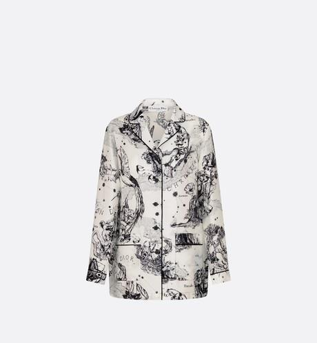 Dior Chez Moi Pajama Jacket • Silk with Black and White Toile de Jouy Zodiac Motif