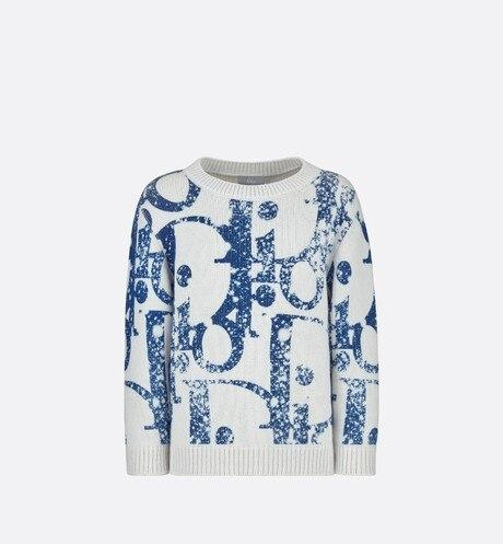 Sweater • White Wool and Cashmere Tricot Knit with Navy Blue Dior Oblique Print