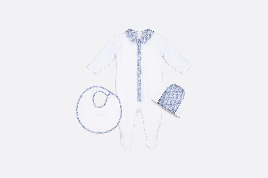 Newborn Gift Set • White Cotton Interlock and Dior Oblique Cotton Satin