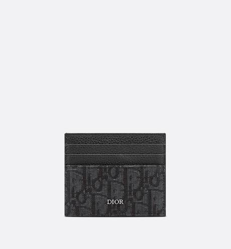 Card Holder • Black Grained Calfskin and Dior Oblique Jacquard