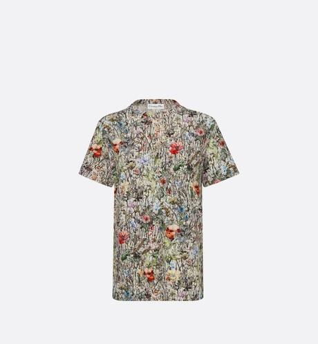 T-Shirt • Cotton Jersey and Linen with Multicolor Mille Fleurs Motif