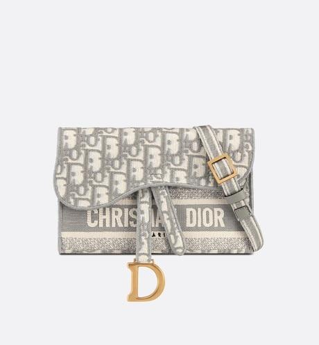 Saddle Slim Pouch • Gray Dior Oblique Embroidery