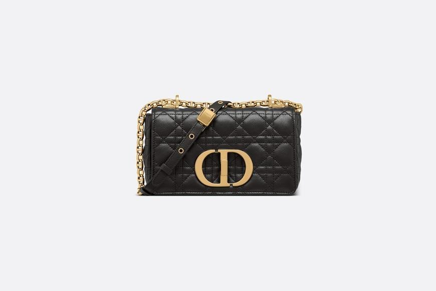 Small Dior Caro Bag • Black Soft Cannage Calfskin