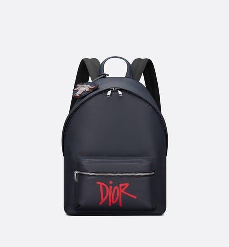Rider Backpack • Navy Blue Grained Calfskin with DIOR AND SHAWN Signature and Bull's Head