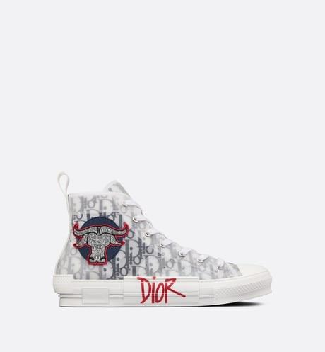 B23 High-Top Sneaker • Black and White Dior Oblique Canvas with DIOR AND SHAWN Bull's Head Embroidery Patch