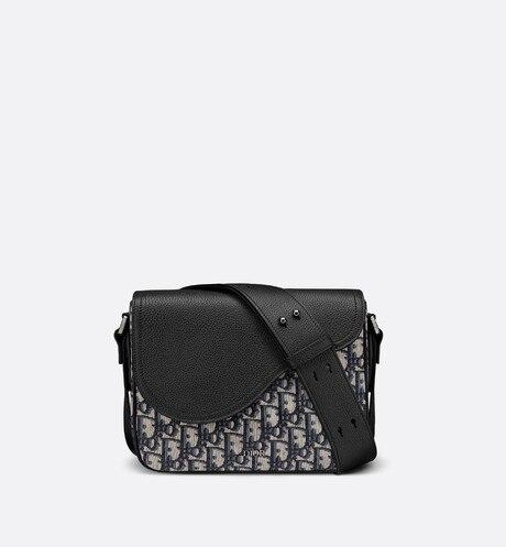 Mini Saddle Messenger Bag • Beige and Black Dior Oblique Jacquard and Black Grained Calfskin