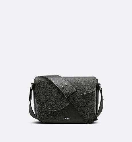 Mini Saddle Messenger Bag • Black Grained Calfskin