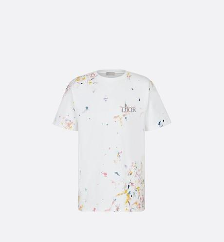 Oversized 'DIOR' T-Shirt • White Cotton Jersey with Paint Print