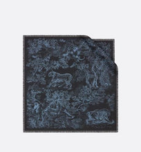 Load image into Gallery viewer, Toile de Jouy Square Scarf • Navy Blue Silk Twill