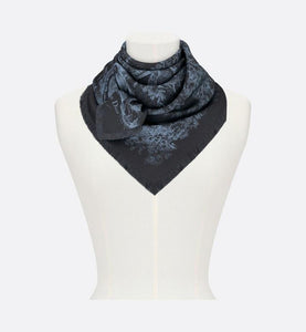 Toile de Jouy Square Scarf • Navy Blue Silk Twill
