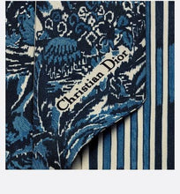 Load image into Gallery viewer, Dior Palms Mitzah Scarf • Blue Silk Twill