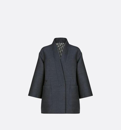 Reversible Palto Jacket • Navy Blue Double-Sided Technical Cotton with Denim Effect