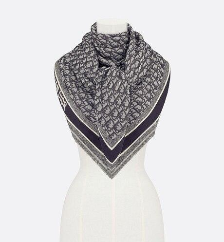 D-Oblique Shawl • Navy Blue Wool, Silk and Cotton