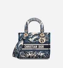 Load image into Gallery viewer, Medium Lady D-Lite Bag • Blue Dior Palms Embroidery