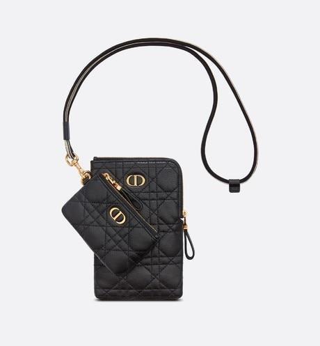 Dior Caro Multifunction Pouch • Black Cannage Supple Calfskin